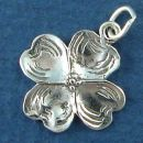 Flower: Dogwood Bud Sterling Silver Charm Pendant