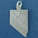 State of Nevada Sterling Silver Charm Pendant and Cities Carson City, Las Vegas and Reno with Picture of Mountain Climber and Cattle