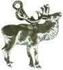Elk with Antlers 3D Sterling Silver Charm Pendant