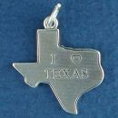 Texas Map with Word Phrase I Heart Love Texas Sterling Silver Charm Pendant