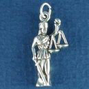 Lady Justice with Sword and Scales of Justice for Law Profession Sterling Silver Charm Pendant