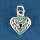 Heart Lock with Keyhole Sterling Silver Charm Pendant