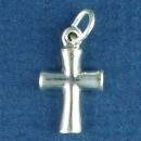 Cross with Rounded Shape Small Sterling Silver Charm Pendant