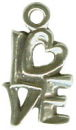 Love Word Phrase with Heart Accent Sterling Silver Charm Pendant