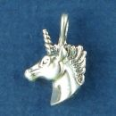 Unicorn Head 3D Sterling Silver Charm Pendant