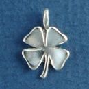 Shamrock Four Leaf Clover Charm Irish Good Luck 3D Sterling Silver Charm Pendant