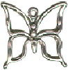 Butterfly with Open Wings Small 3D Sterling Silver Charm Pendant