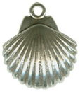 Scalloped Seashell Small 3D Sterling Silver Charm Pendant