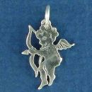 Cupid the Cherubim Angel of Love with Bow and Arrow Sterling Silver Charm Pendant