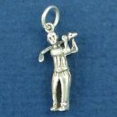 Golfer Male Swing a Club Small 3D Sterling Silver Charm Pendant