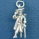 Pirate with Parrot and Sword Sterling Silver 3D Charm Pendant