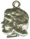 Silhouette Girl Head 3D Sterling Silver Charm Pendant