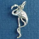 Bird: Flamingo 3D Sterling Silver Charm Pendant