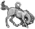 Horse Bucking Bronco 3D Sterling Silver Charm Pendant