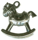 Rocking Horse 3D Child's Toy Sterling Silver Charm Pendant
