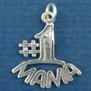 Mom, #1 Mama Word Phrase Sterling Silver Charm Pendant