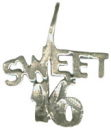 Sweet 16 Word Phrase Sterling Silver Charm Pendant