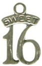 Sweet 16 Sterling Silver Charm Pendant