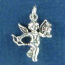 Cherubim Angel Charm Sterling Silver Pendant with Bow