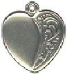 Heart with Vine Design Accent Sterling Silver Charm Pendant