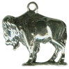 Buffalo Charm 3D Sterling Silver Pendant