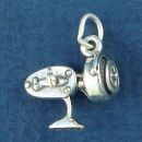 Fishing Reel 3D Sterling Silver Charm Pendant