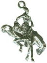 Cowboy Bronco Horse Rider 3D Sterling Silver Charm Pendant
