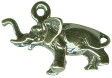 Elephant Small 3D Sterling Silver Charm Pendant