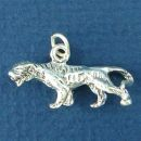 Asian Tiger 3D Sterling Silver Charm Pendant