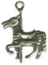 Carousel Horse 3D Sterling Silver Charm Pendant