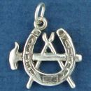 Horse Farrier Blacksmith Symbol of Horseshoe, Hammer and Tongs Sterling Silver Charm Pendant