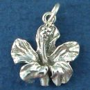 Flower: Hibiscus Bud 3D Sterling Silver Charm Pendant