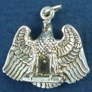 Eagle on Perch with Wings Spread Sterling Silver 3D Bird Charm Pendant