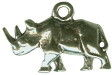 Rhinoceros Small 3D Sterling Silver Charm Pendant