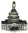 Tour: United States Capitol Building 3D Sterling Silver Charm Pendant
