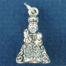 Religious Christian El Santo Nino de Atocha or the Infant of Prague 3D Sterling Silver Charm Pendant of Child Jesus