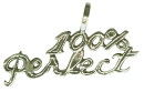 100% Perfect Word Charm and Message Phrase Sterling Silver Charm Pendant