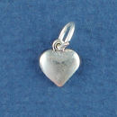Heart Small 3D Sterling Silver Charm Pendant