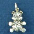 Sitting Teddy Bear Charm Sterling Silver Pendant
