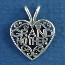 Grandmother Word Phrase Lace in Heart Sterling Silver Charm Pendant