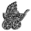 Baby Carriage with Ornate Design 3D Sterling Silver Charm Pendant