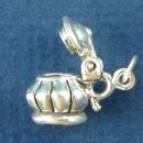 Sugar Bowl in Scalped Design with Movable Lid 3D Sterling Silver Charm Pendant