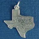State of Texas with Map Sterling Silver Charm Pendant for Charm Bracelet