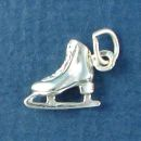 Ice Skate 3D Sterling Silver Charm Pendant