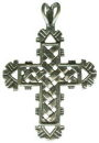 Cross with Woven Pattern Sterling Silver Charm Pendant