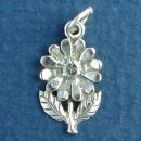 Daisy Flower with Leaves Small Sterling Silver Charm Pendant