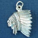 Indian Chief Head in Full Feather Head Dress Sterling Silver Indian Charm Pendant