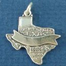 Texas State Map with Ribbon Banner on Front Sterling Silver Charm Pendant