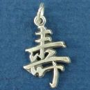 Chinese Text for Long Life Word Phrase Sterling Silver Charm Pendant