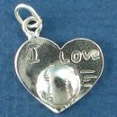 Baseball or Softball on Heart with I Love Word Phrase Sterling Silver Charm Pendant